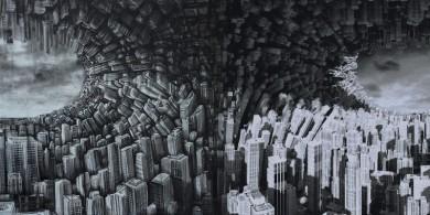 Hyperplanes of simultaneity (olio su tela e grafica virtuale, 2016)