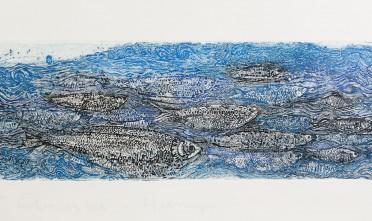 S.Zappone, Herrings as Water body, etching, sugar-lift, 30x90cm
