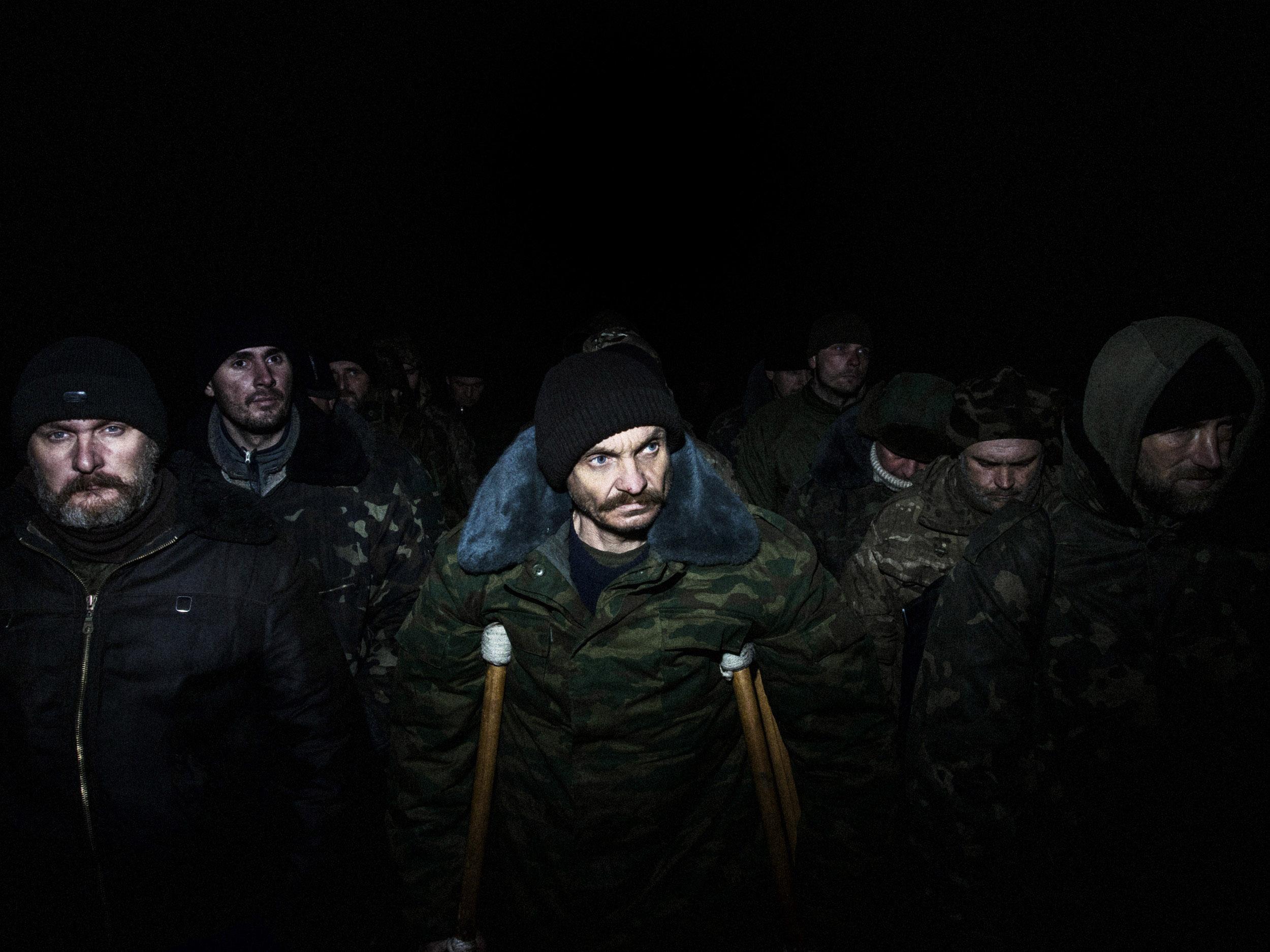 UKRAINE.22/2/15.Near Pervomaisk. Front line of Kolobok.  Prisoners exchange.