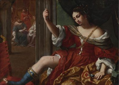 Elisabetta Sirani, olio su tela, 1664, 101 × 138 cm , Collezioni d'Arte e di Storia della Fondazione della Cassa di Risparmio, Bologna, [Public domain], via Wikimedia Commons