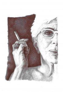 Adele Ceraudo Lina Wertmuller, 2012, collezione Conversazioni a Bic, 2010-17 disegno, disegno a bic su carta Fabriano, cm33x24