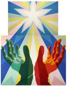 GiacomoBallaQuadro fascista(meglioconosciutocomeLe manidelpopoloitaliano), 1925 ca.trepannelliasmaltosutelacm 173 x113,5 (ciascuno)Roma,giàCasaBalla © GiacomoBalla bySIAE2018