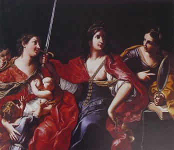 Elisabetta Sirani, La Giustizia, la Carità e la Prudenza, 1664, Modena [CC BY-SA 3.0 (https://creativecommons.org/licenses/by-sa/3.0) or GFDL (http://www.gnu.org/copyleft/fdl.html)], via Wikimedia Commons