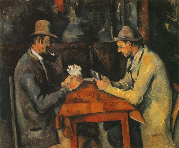 Paul Cézanne [Public domain], Les joueurs de carte, 1890-1898, olio su tela, 47,5×57 cm, Musée d'Orsay, Parigi; Barnes Foundation, Philadelphia; Metropolitan Museum of Art, New York; Courtauld Institute of Art, Londra; collezione privata