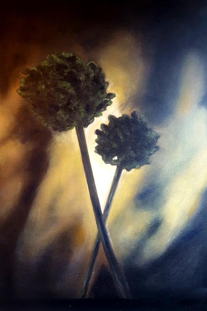 """""""Fiori dell'Aglio"""" di Vincenzo Lo Sasso nasce durante una vacanza all'Isola di Minorca. L'artista rimane folgorato dalla bellezza di questi fiori selvatici"""