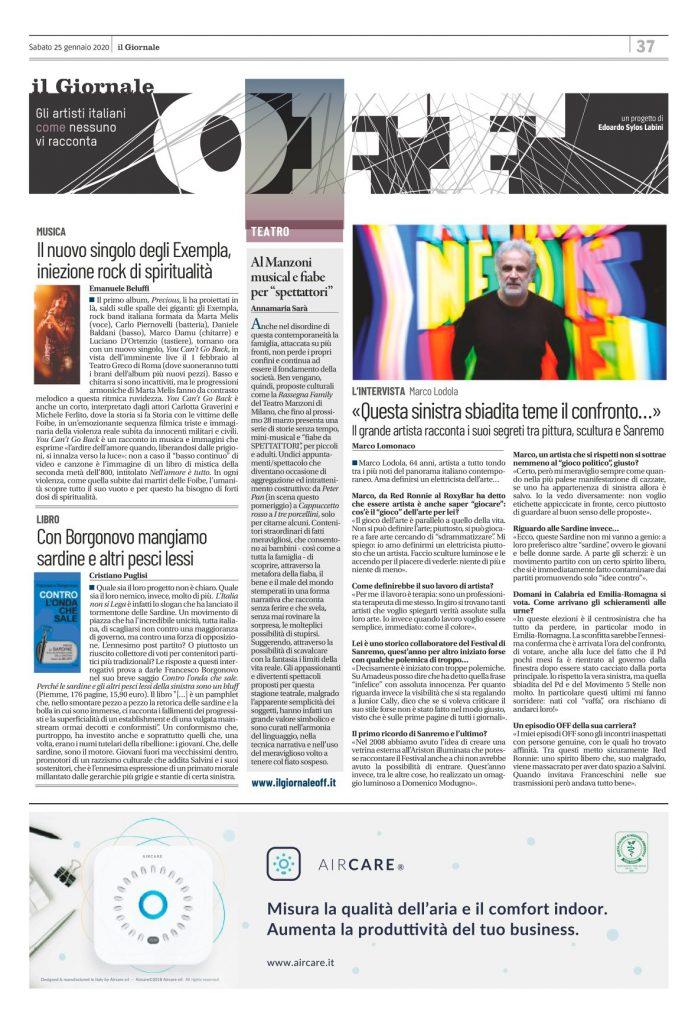 """In edicola come ogni sabato tra le pagine culturali del quotidiano Il Giornale c'è #IlGiornaleOFF. Oggi sulla pagina #OFF trovate la recensione di """"You can't go back"""", il nuovo singolo+video dei dirompenti Exempla, firmata da Emanuele Beluffi. Cristiano Puglisi invece ci consiglia il nuovo libro del giornalista Francesco Borgonovo, intitolato """"Contro l'onda che sale"""". Il colonnino è occupato dal racconto di Annamaria Sarà della nuova """"Rassegna Family"""" del #TeatroManzoni. Infine, trovate l'intervista al grande artista Marco Lodola firmata da Marco Lomonaco."""