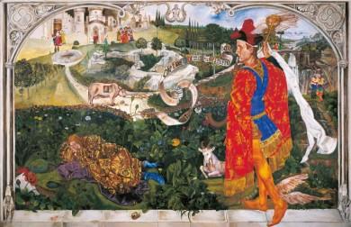 """""""Allegoria Sacra di Mercurio"""" - Piero Colombani 2007 - tempera all'uovo e oro zecchino su tavola mt 1,92x1,25"""