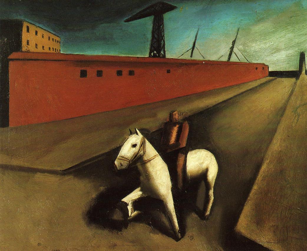 sironi, il cavallo bianco e il molo,1920-22
