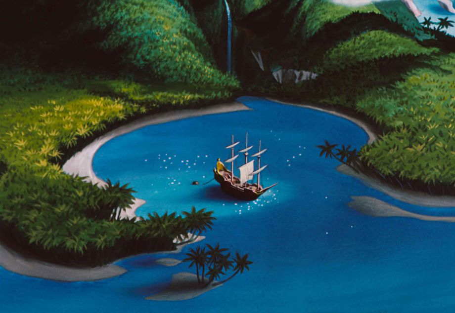 Neverland and Captain Hook's ship the 'Jolly Roger'