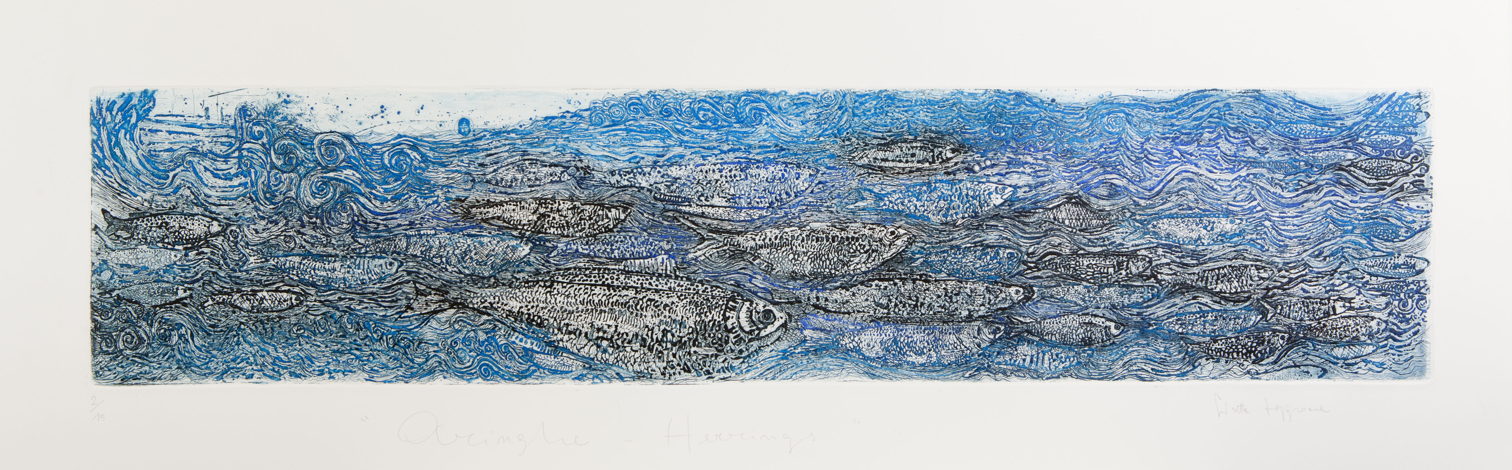 S.Zappone, Herrings as Water body, etching, sugar-lift, 30x90cm
