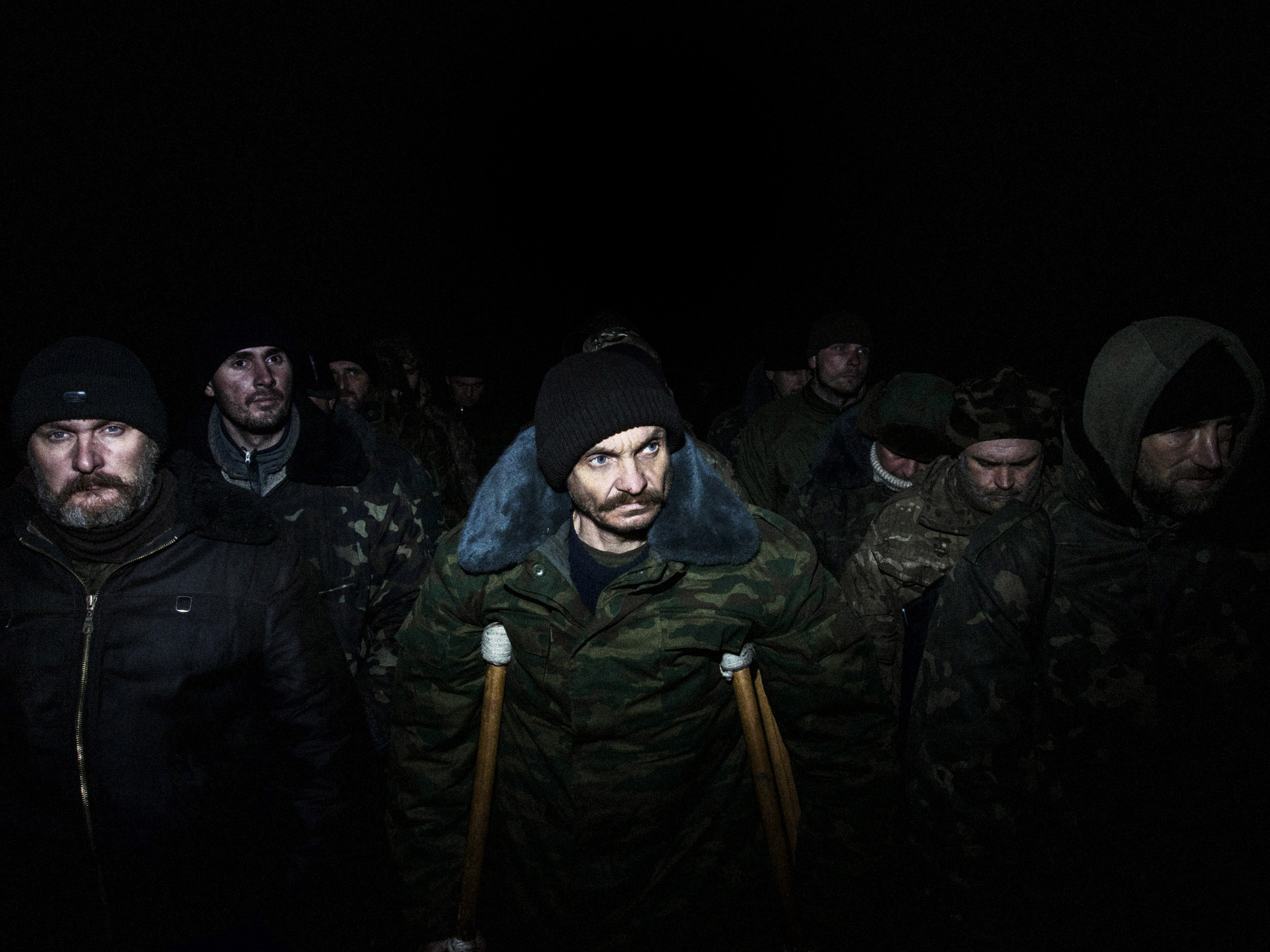 UKRAINE.22/2/15.Near Pervomaisk. Front line of Kolobok.  Prisoners exchange.