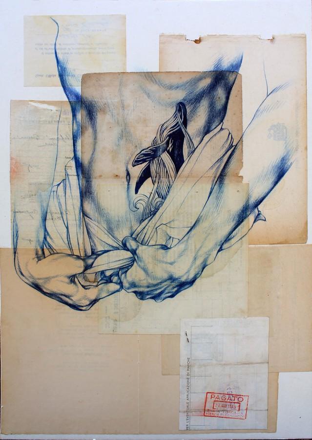 mille-mari-nello-stomaco-2016-36x515cm-pastelli-su-carte-recuperate