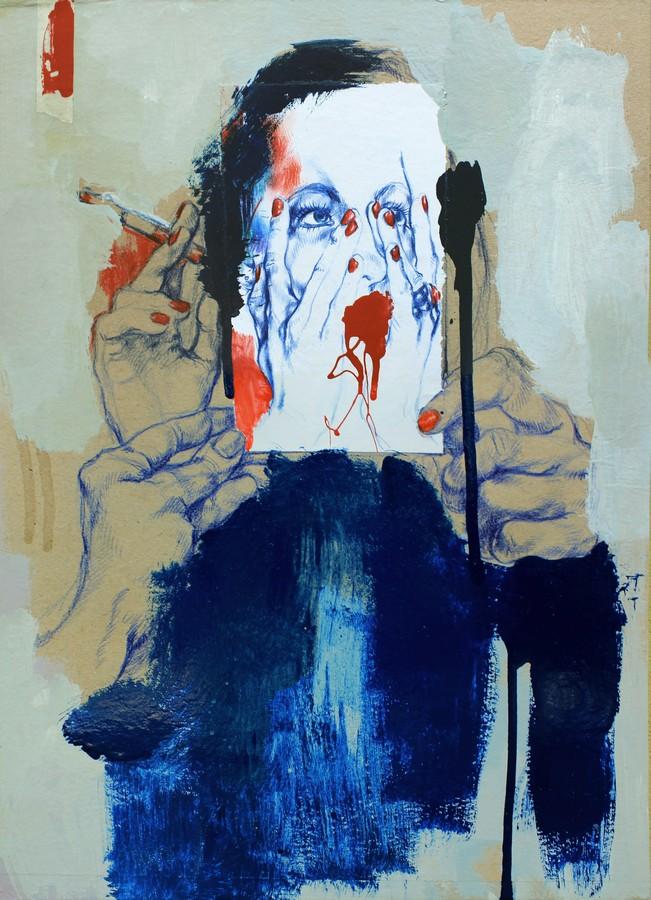 the-blue-room-2016-36x505cm-pastelli-e-smalti-su-carte-recuperate