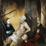 Sergio Padovani, Martirio di San Cassiano, olio, bitume, resina su tela, cm 120x80, 2017