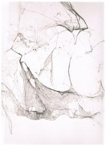 In sospeso, 2012, filo di ragno su carta