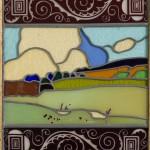 Teodoro Wolf Ferrari, Paesaggio, Casa, Betulle, 1912 vetro, 33,5 X 29 cm ogni singolo pannello. Collezione Coin