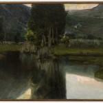 Teodoro Wolf Ferrari, Lago con cipressi e case, 1923 olio su tela, 116 X 156 cm. Collezione Coin