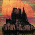 Teodoro Wolf Ferrari, L'isola misteriosa, 1917 olio su tela, 76 X 97 cm. Collezione privata