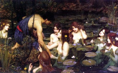 John William Waterhouse, Hylas and the Nymphs, 1896, oil on canvas, 132.1 × 197.5 cm, Manchester Art Gallery, John William Waterhouse [Public domain], via Wikimedia Commons