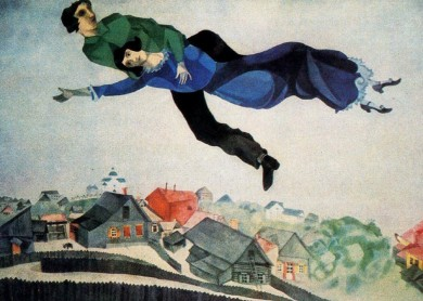 Marc Chagall, Over the town, 1918, oil on canvas, Tretyakov Gallery, Moscow, Russia Public domain USvia Wikiart