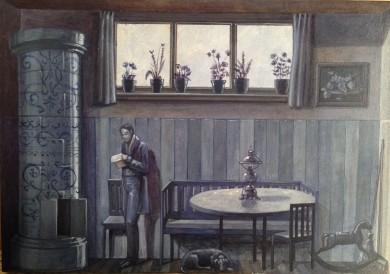 Monolocale 29, (la lettera di mezzanotte ), 2015, acrilico e olio su tela, cm 21x30