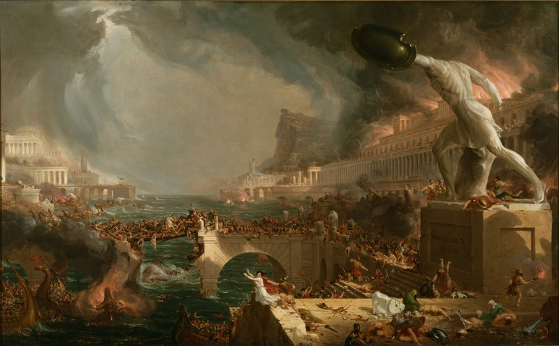 Thomas Cole, The Course of Empire: Destruction, 1836, 39 ½ x 63 ½ in, Collection of The New-York Historical Society, 1858 (commons.wikimedia.org)