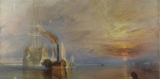 J. M. W. Turner [Public domain], the Fighting Temeraire. 1839, par Joseph Mallord William Turner. Dimensions 90.7 x 121.6 cm, tableau exposé à la National Gallery, à Londres
