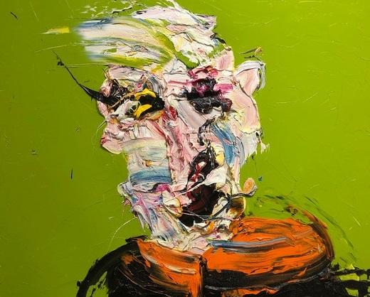 """I dipinti di Giordano Floreancig sopravvivono, sbilenchi, in uno spazio indecifrato che potrebbe chiamarsi """"La ricerca, vana, della felicità"""""""