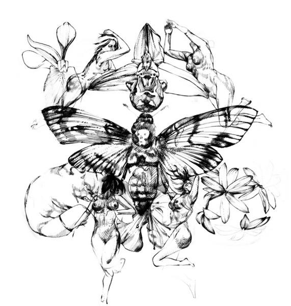 Giovanni Manzoni PIazzalunga, Il giardino delle malizie, disegno su carta, 2020, 200x600 cm
