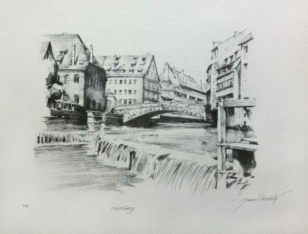 Nürnberg, Ponte sul Pegnitz, litografia 1997